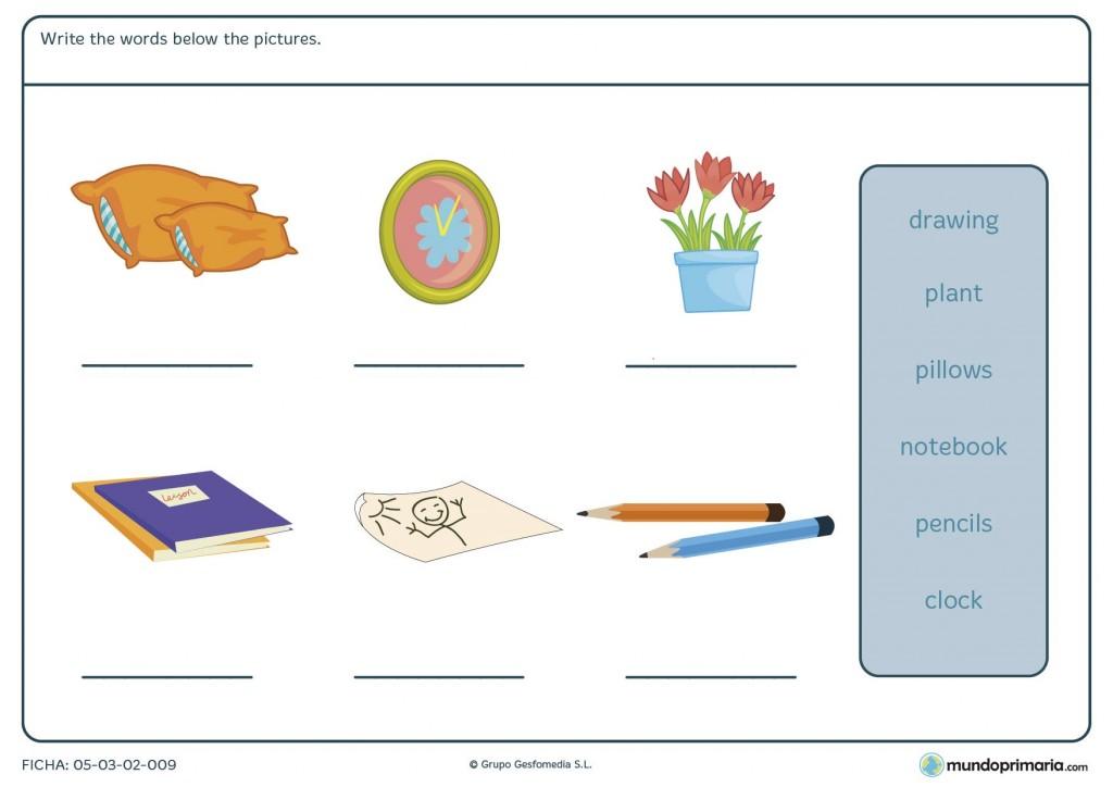 Ficha de elementos de la casa para primaria