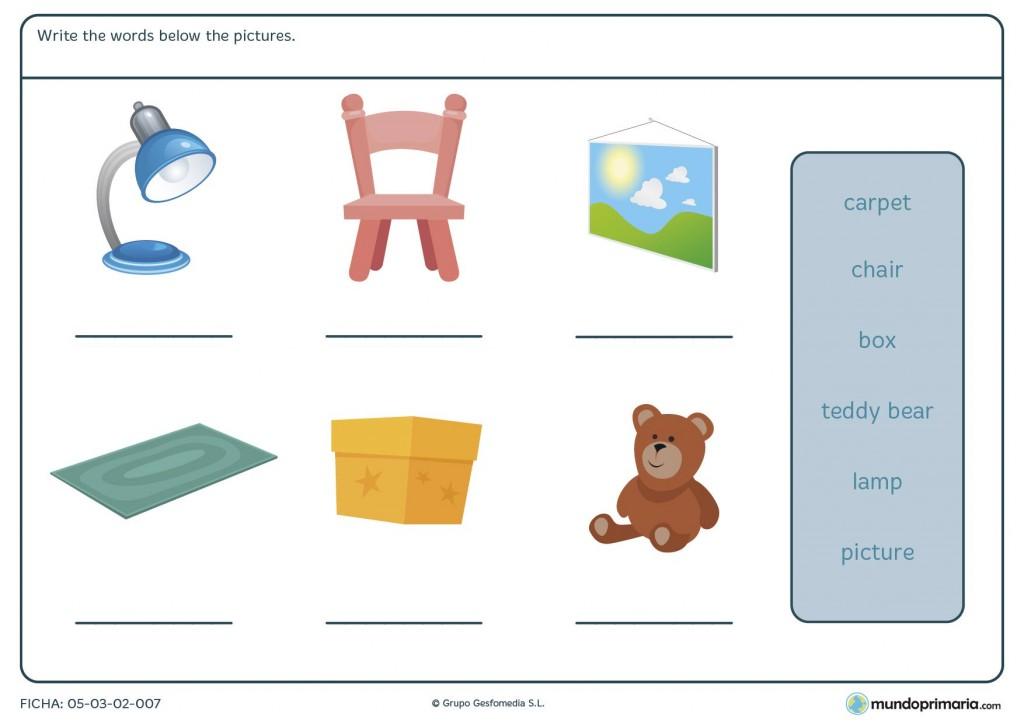 Ficha de elementos de una habitación para primaria