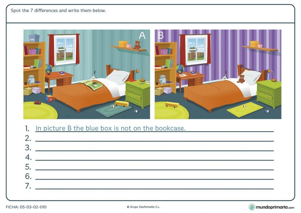 Ficha de encontrar las diferencias para primaria