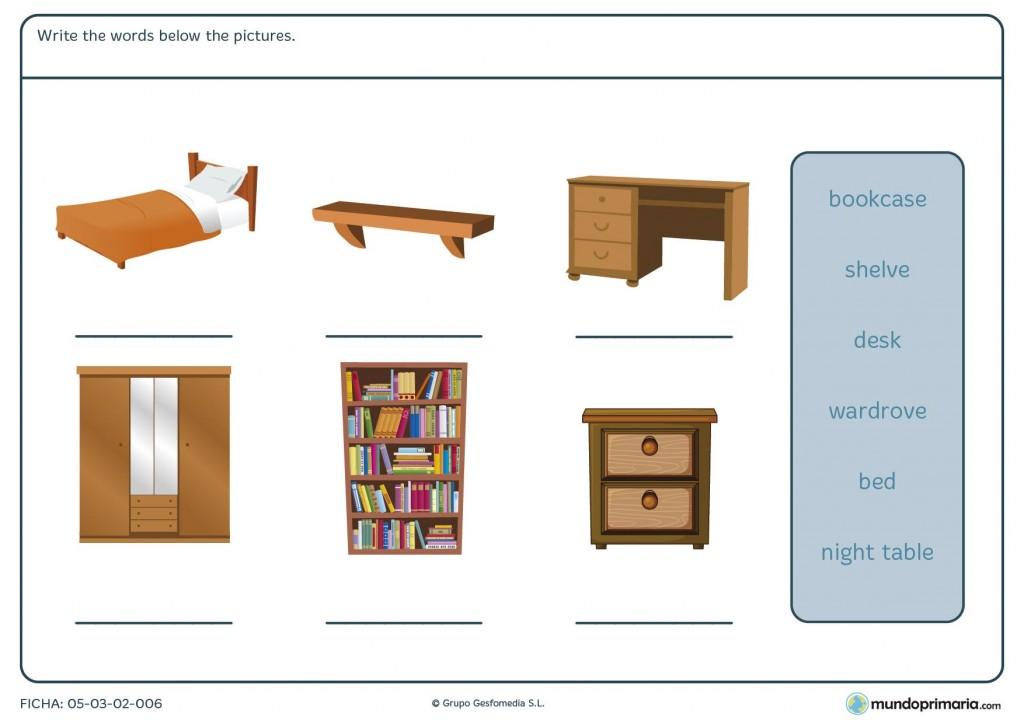 Ficha de muebles de la habitación para primaria