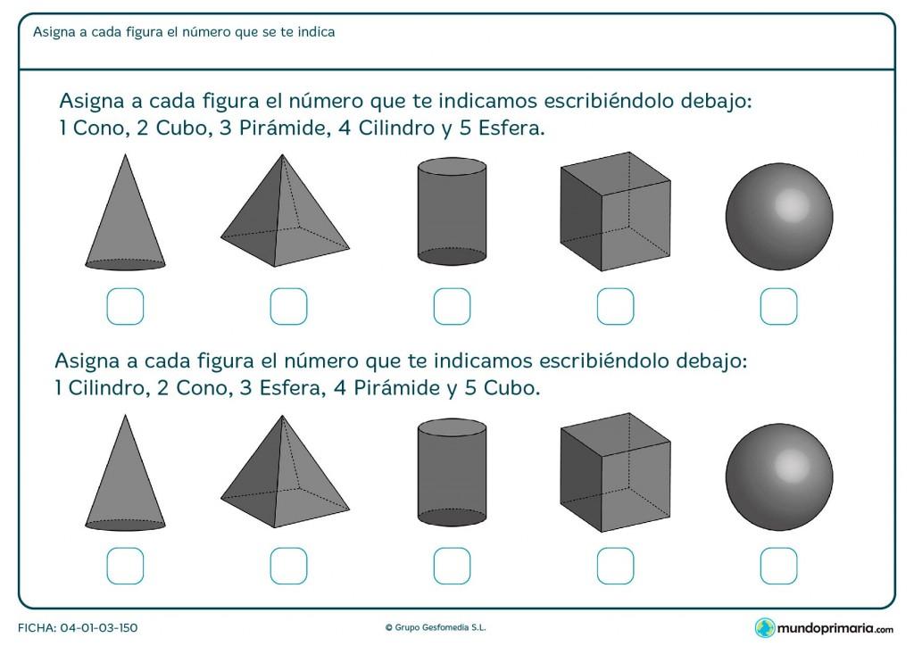Ficha de nombre de cuerpos geométricos para primaria