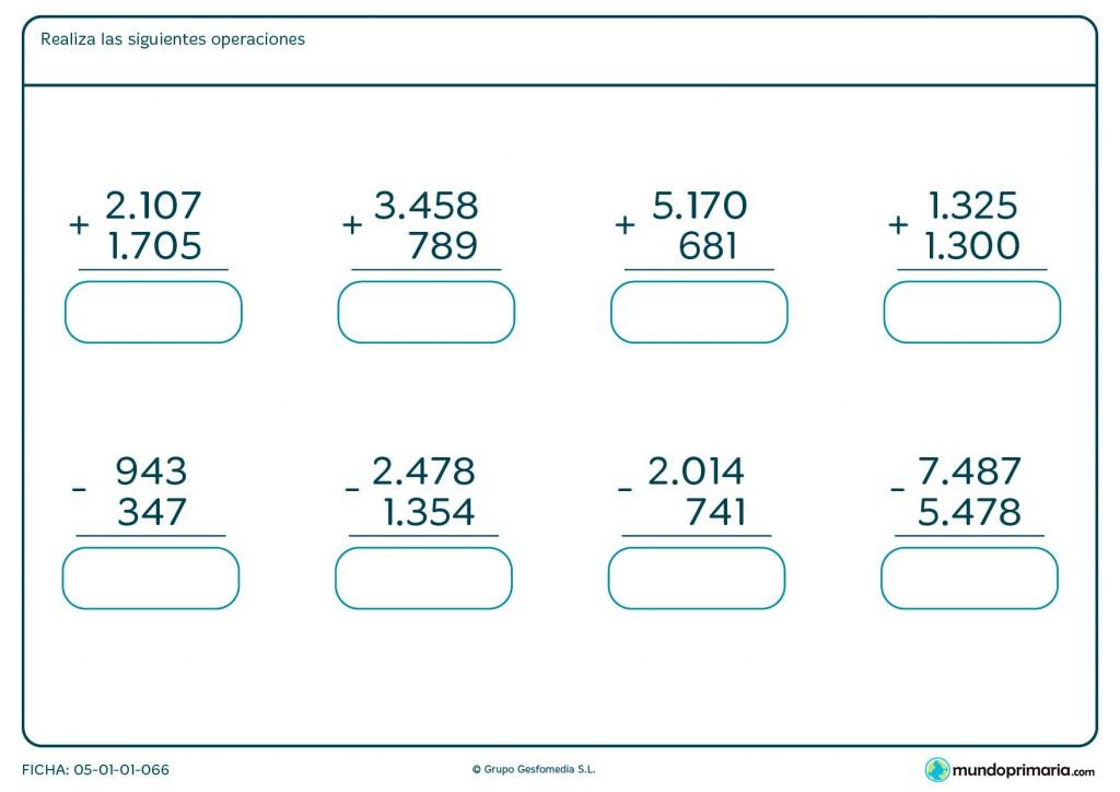 Ficha de resolver sumas y restas para Primaria