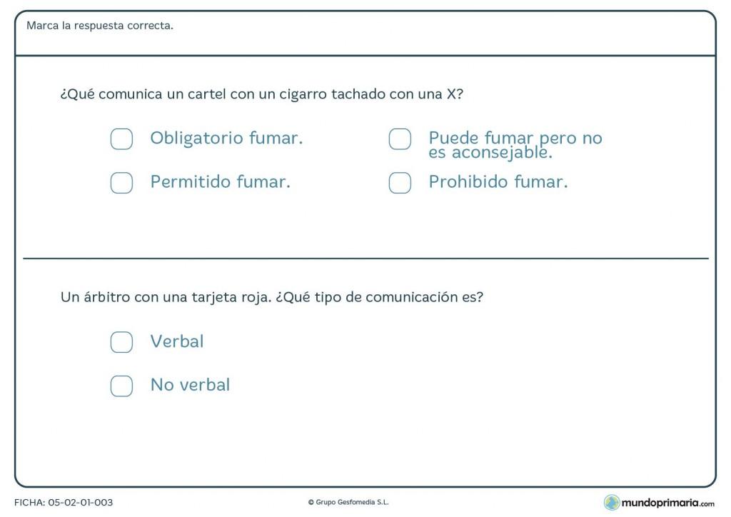 Ficha de qué comunica una señal o una acción para 3º de Primaria
