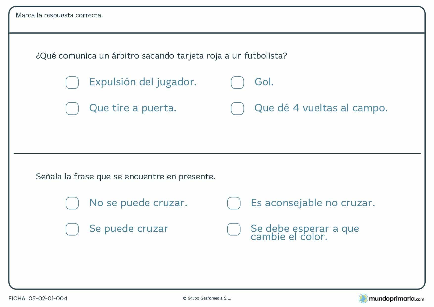 Ficha de lengua de frases en presente para niños de 3º de Primaria