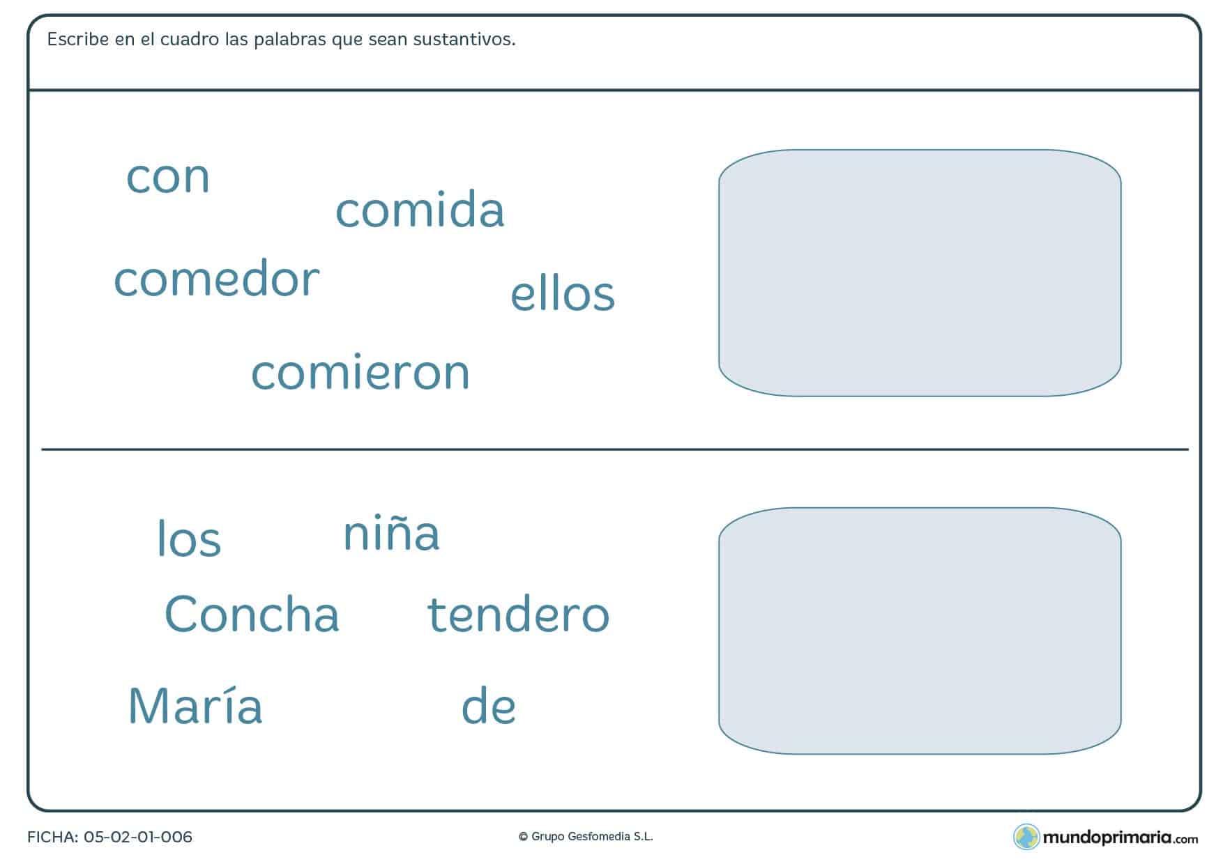 Ficha de escribir las palabras que sean sustantivos para 3º curso