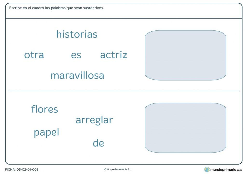 Ficha de reconocer los sustantivos para niños que estén en 3º curso
