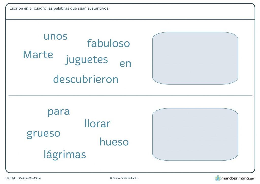 Observar las palabras y poner en la derecha los nombres o sustantivos