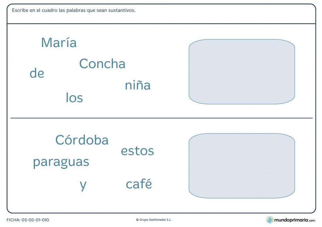 Ficha de lengua de conocer palabras que sean sustantivos para Primaria