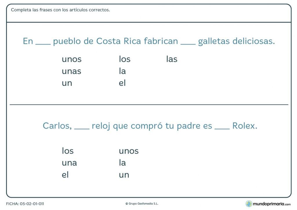 Ficha de completar las frases con los artículos correctos en Primaria