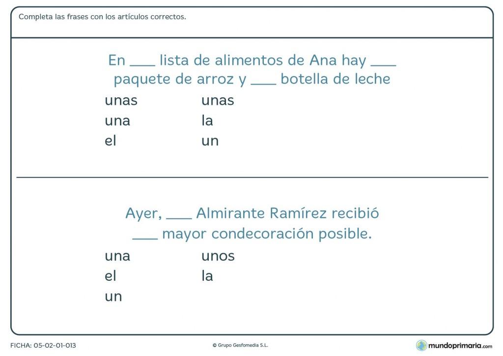 Ficha de lenguaje para utilizar distintos artículos gramaticales