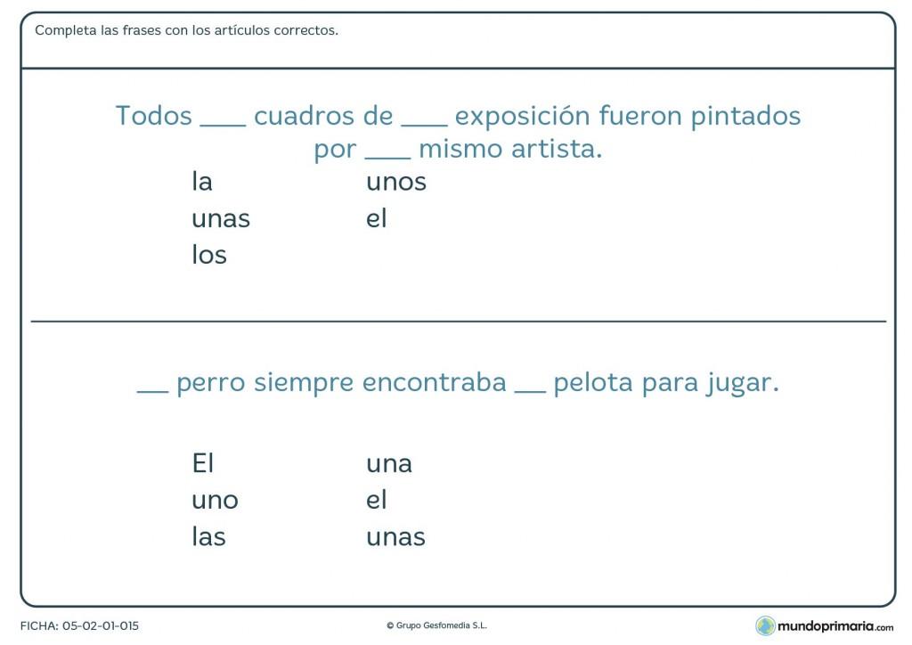 Ficha para completar el sentido de las frases para niños de Primaria