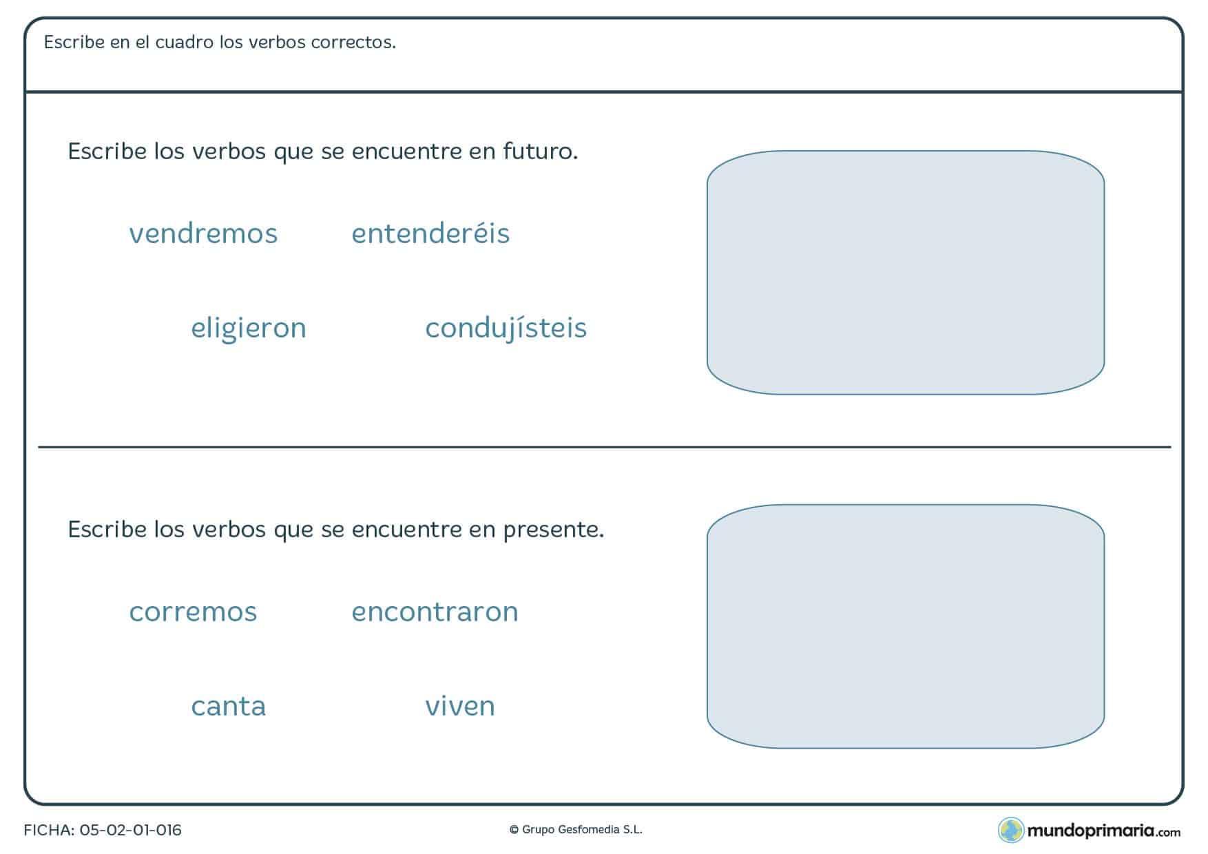 Ficha de escribir en el cuadro los verbos que sean correctos