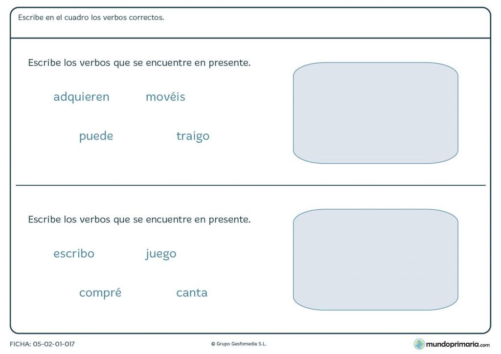 Ficha encontrar los verbos que se encuentren en presente en Primaria
