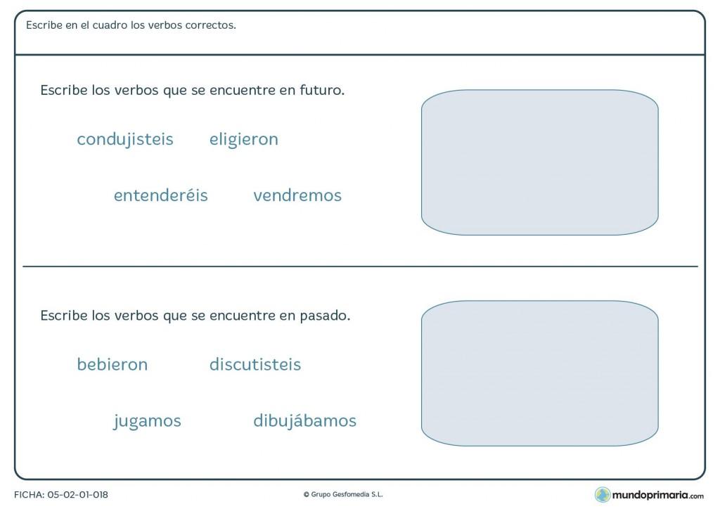 Ficha de lenguaje para escribir los verbos en futuro para Primaria