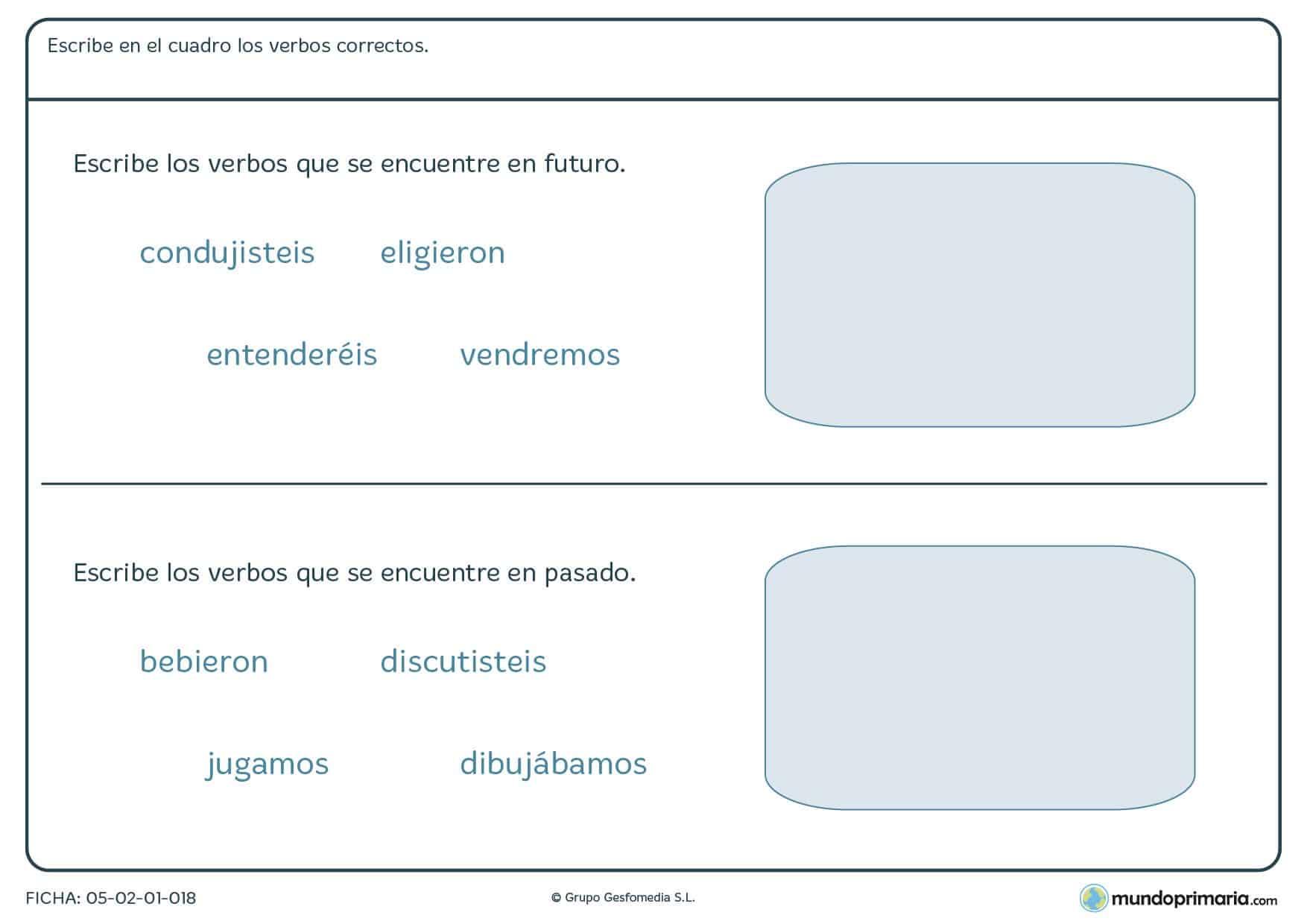 Ejercicios primaria gramática lengua tercero