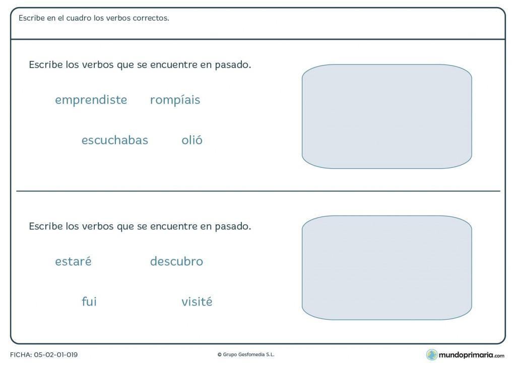 Ficha de seleccionar las formas verbales que estén en pasado para 3º