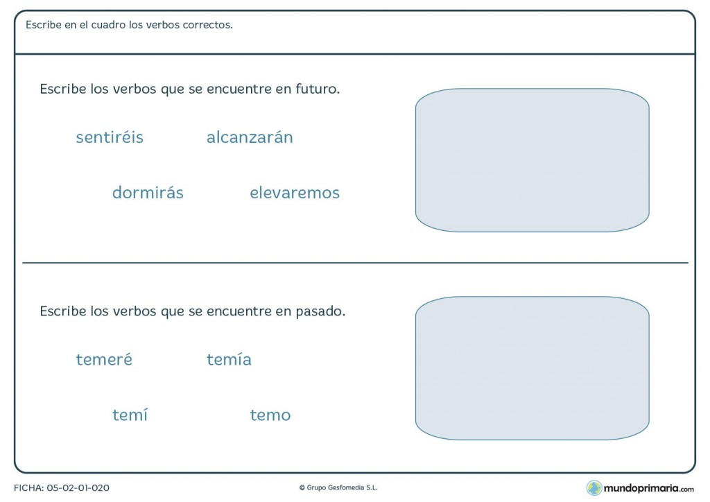Ficha de verbos en el futuro para niños que estudien en Primaria