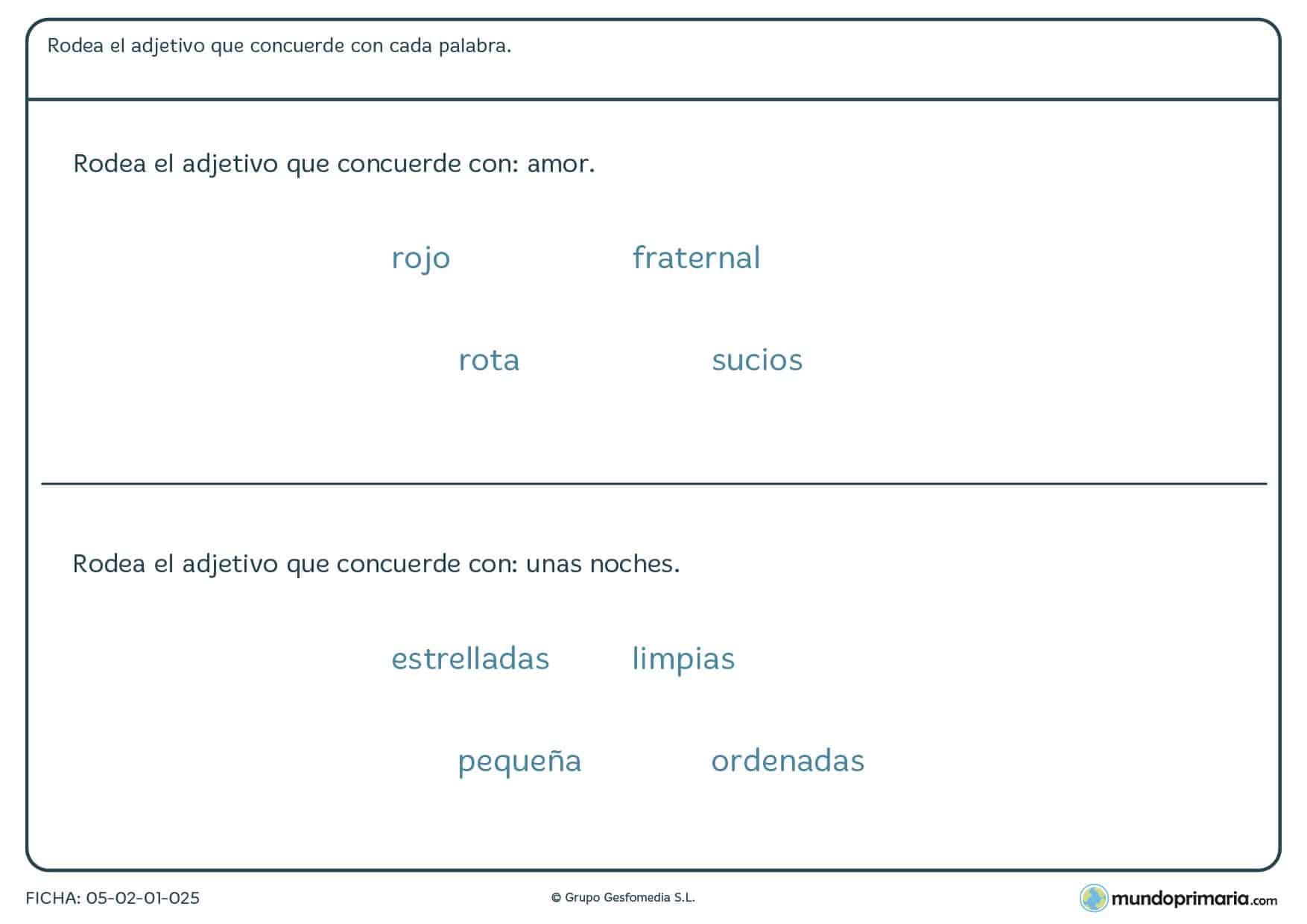Ficha de lenguaje de gramática de adjetivos para alumnos de Primaria