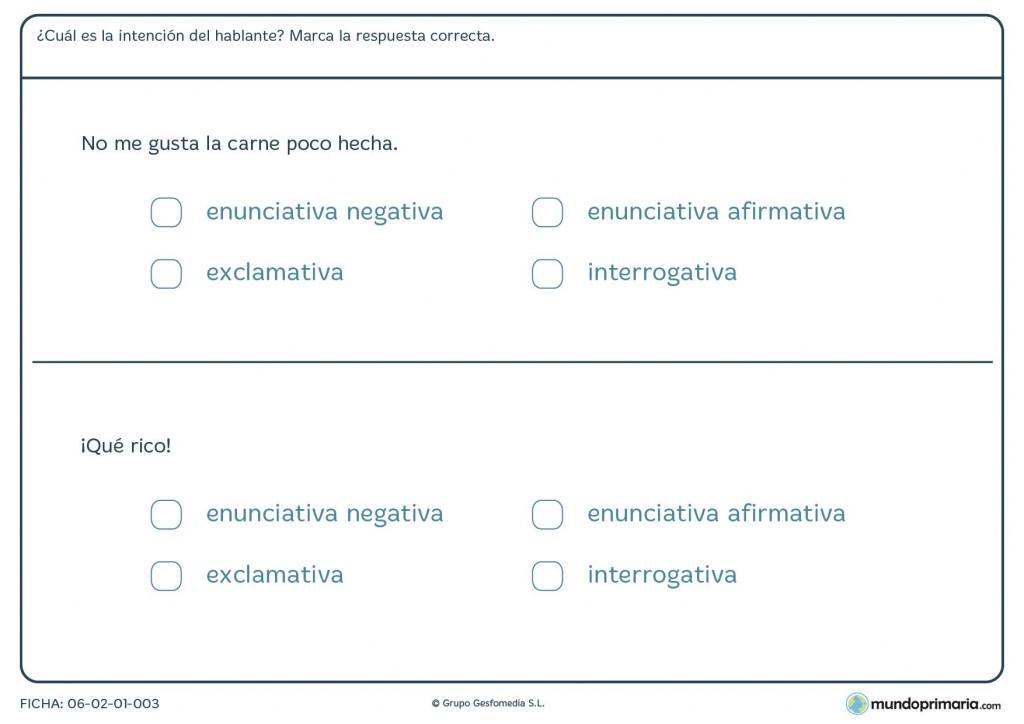 Ficha de tipos de oraciones simples para niños de 4º de Primaria