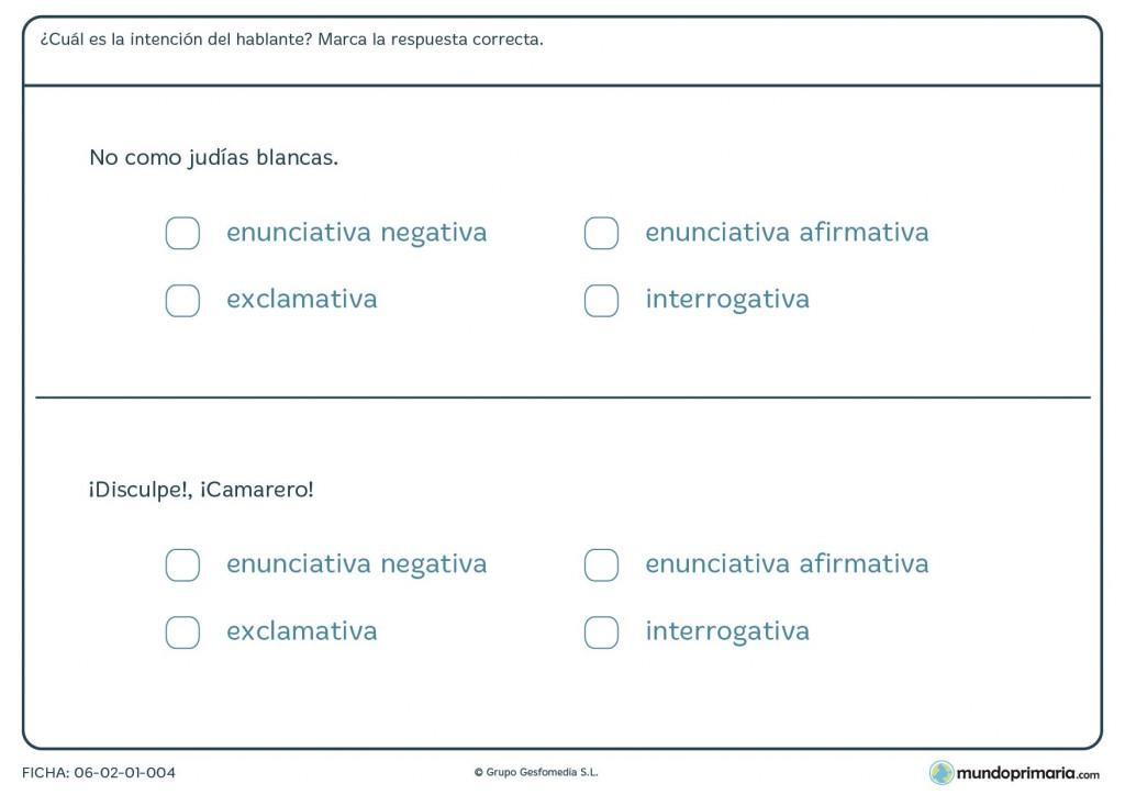 Ficha de lenguaje sobre la intención del hablante para Primaria
