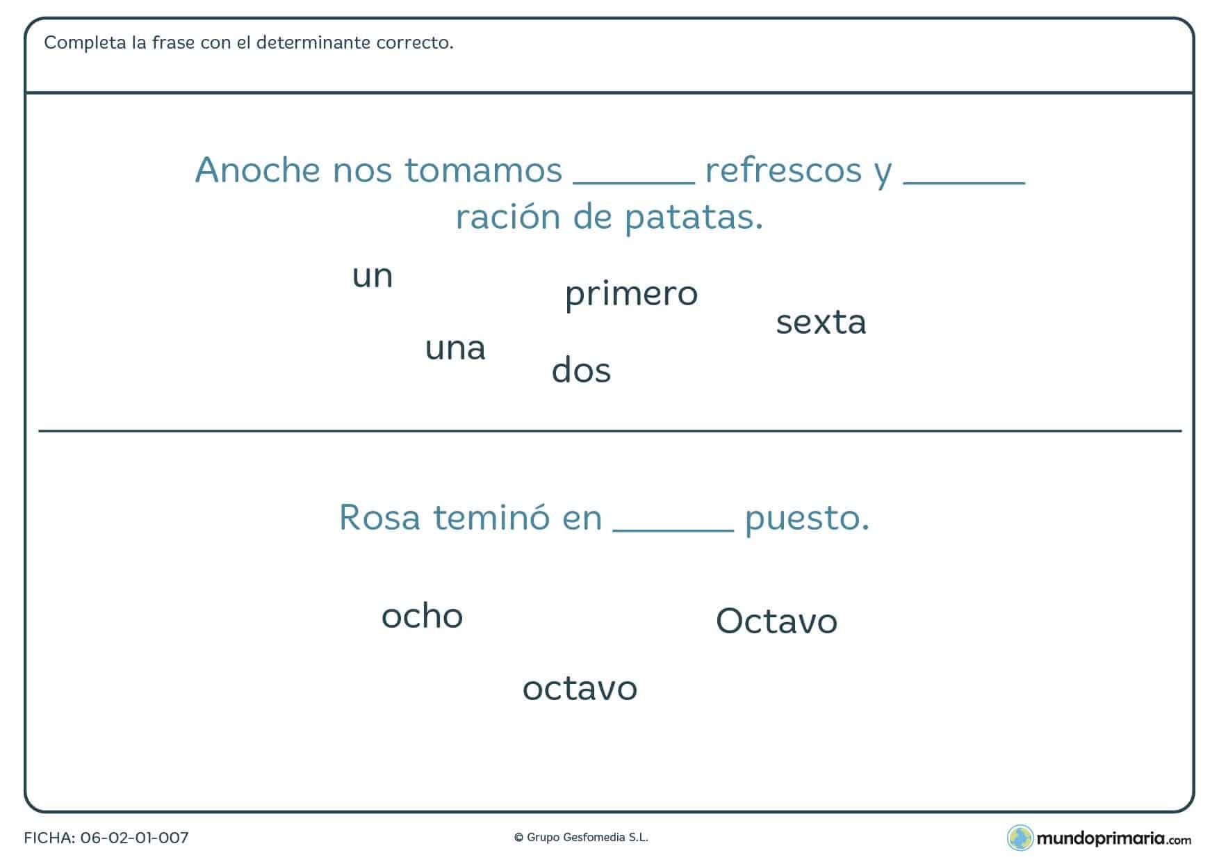 Ficha de lenguaje de numerales ordinales y cardinales para Primaria