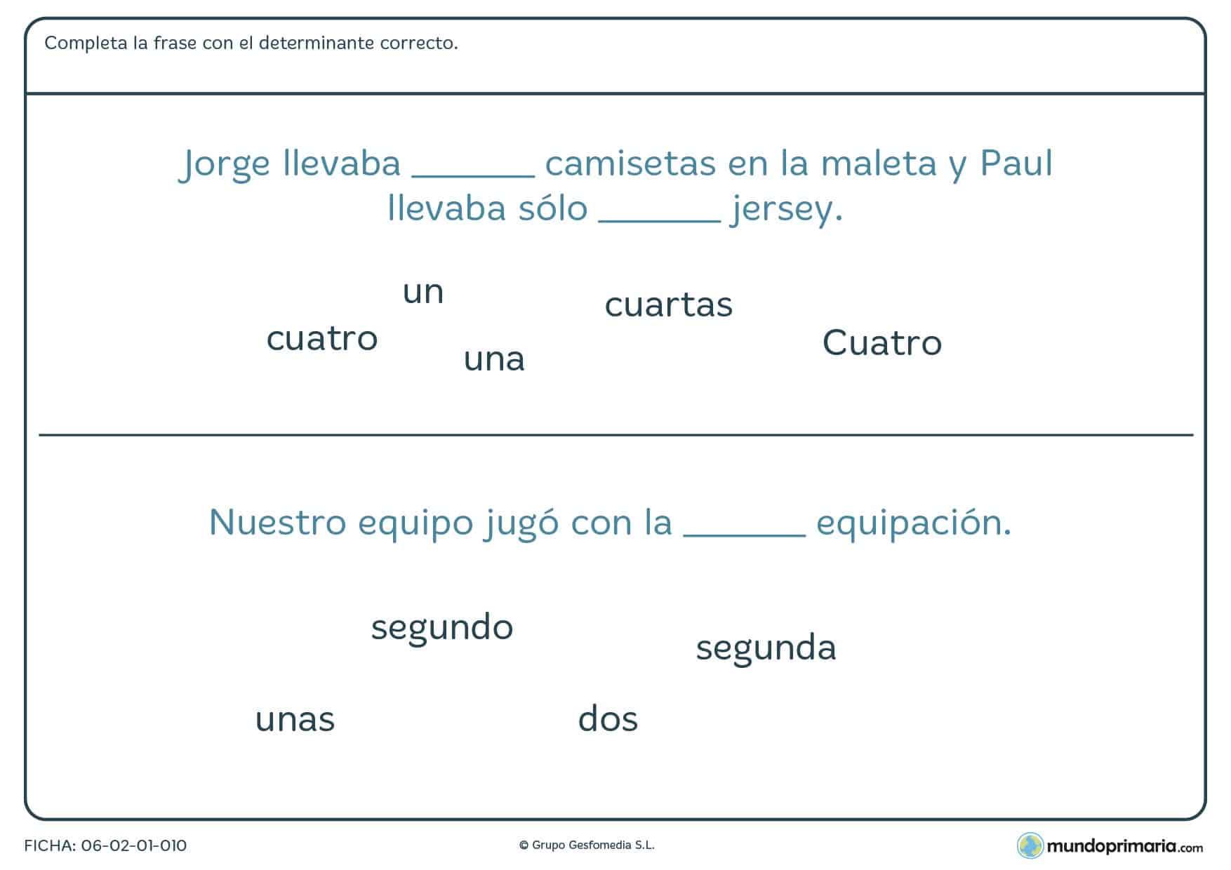 Ficha de seleccionar el determinante correcto para cada frase