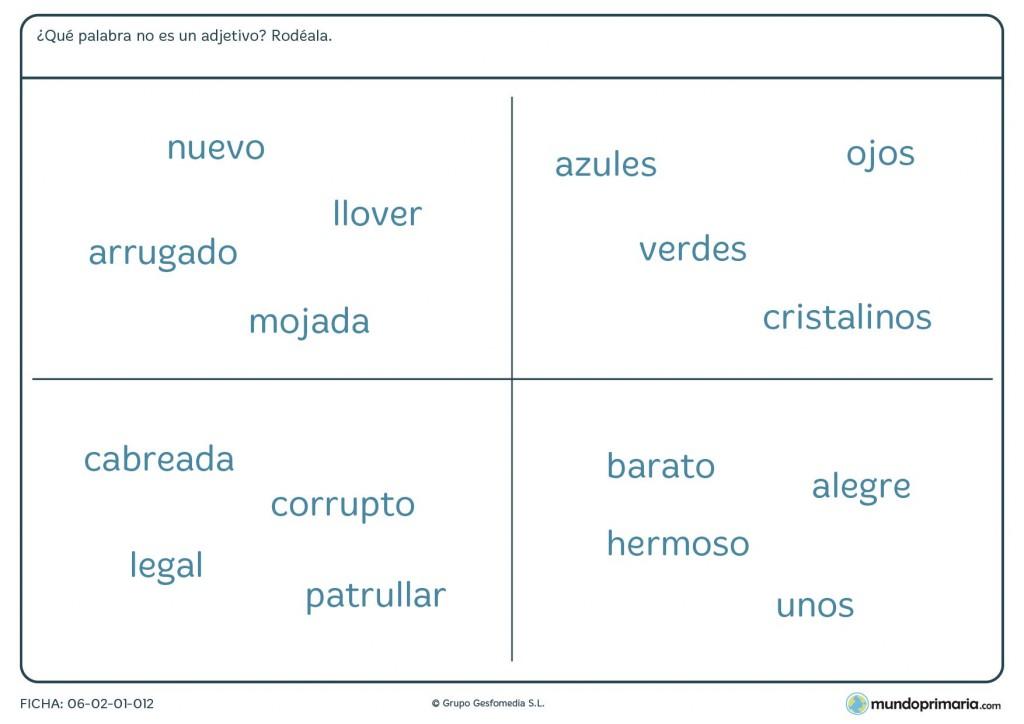 Ficha de lengua para distinguir las palabras que no sean adjetivos