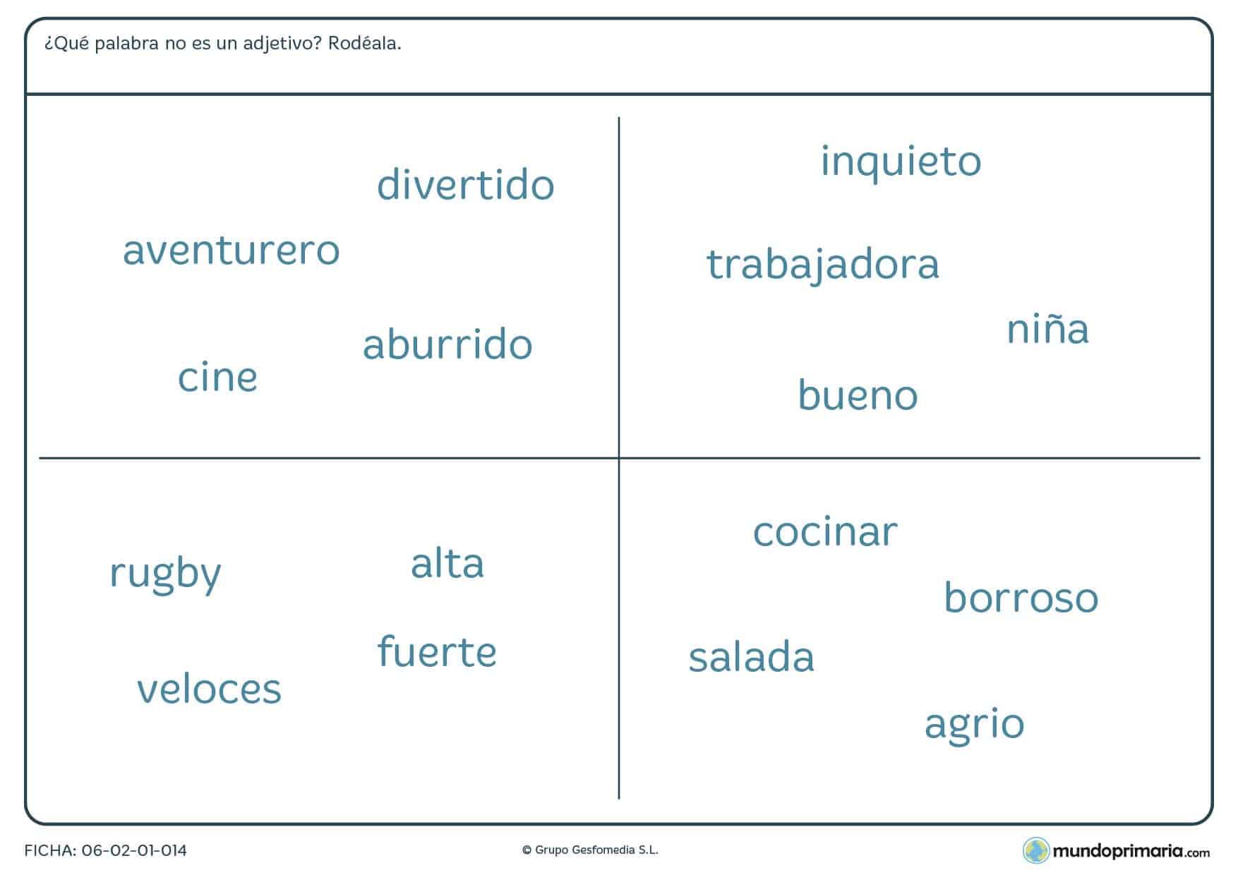 Ficha de buscar de entre todas las palabras las que no sean adjetivos