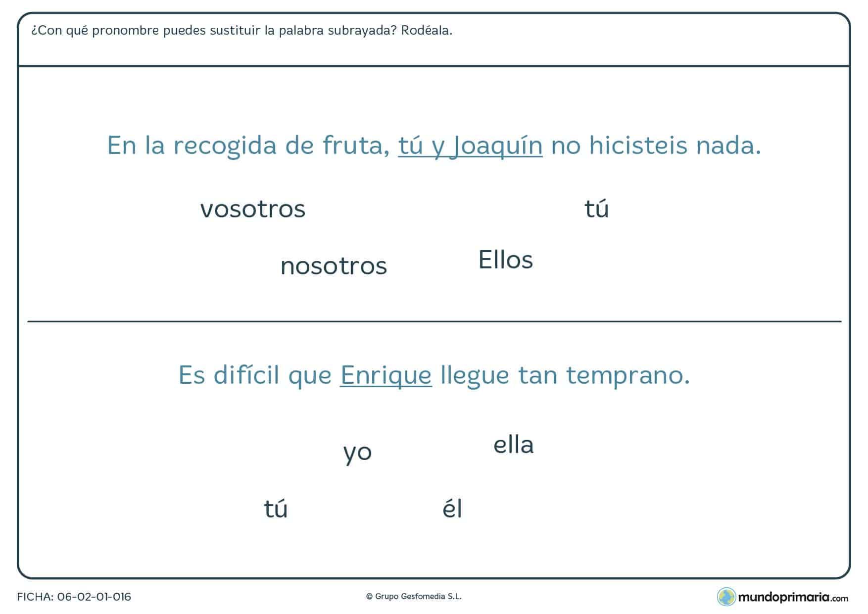 Ficha de sustituir las palabras subrayadas por pronombres para 4º