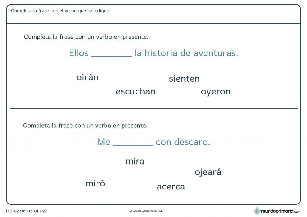 Ficha de elegir el verbo que encaje con el significado de la frase