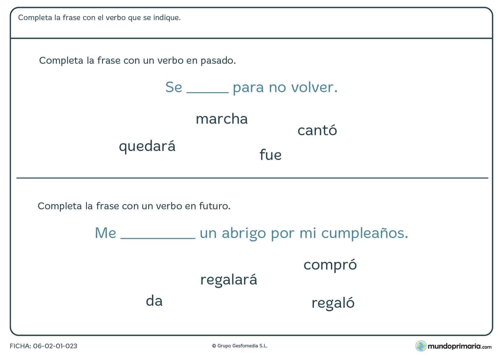 Ficha de utilizar verbos en pasado para alumnos de 4º de Primaria