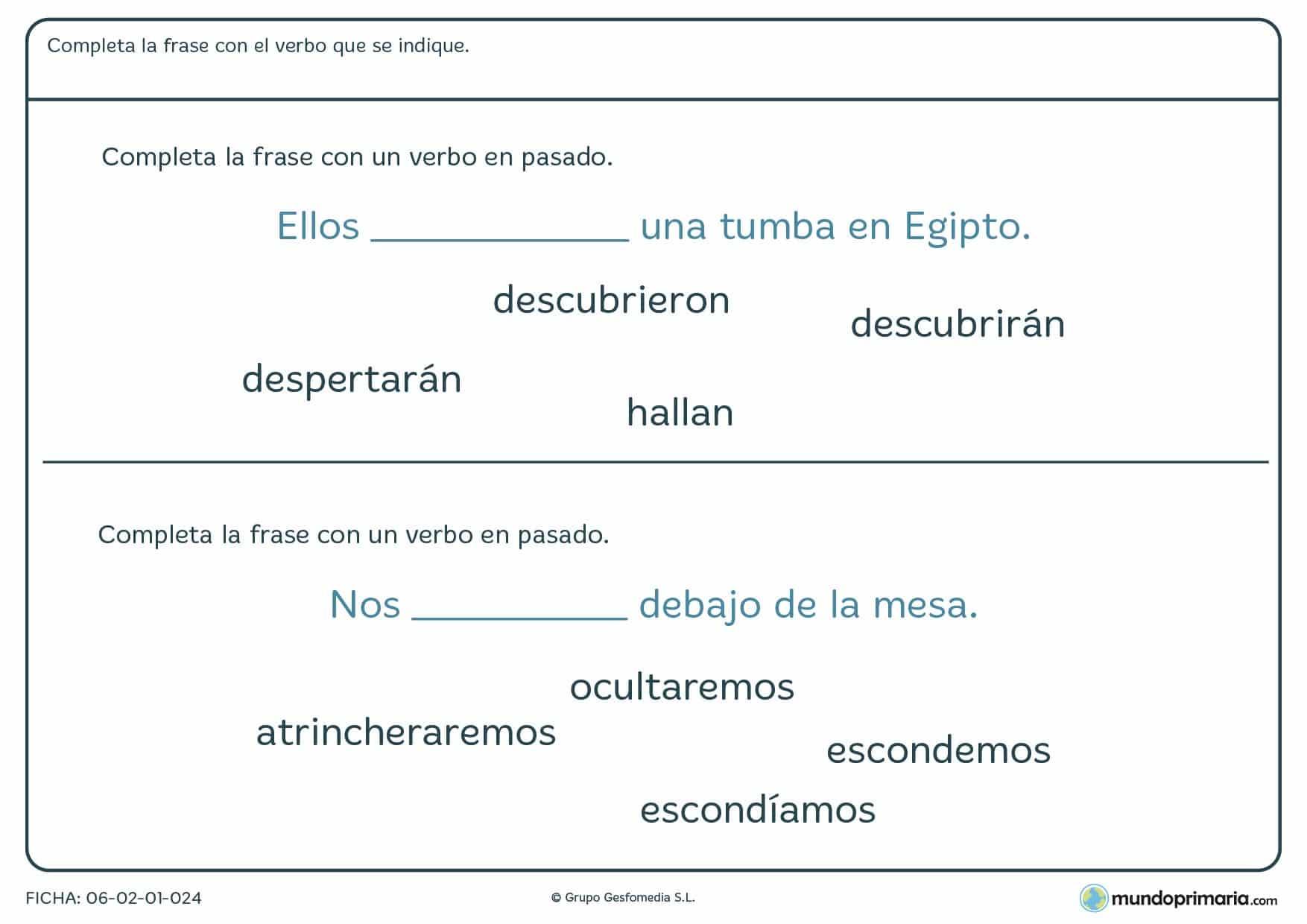 Ficha para aprender a colocar el verbo en pasado para Primaria