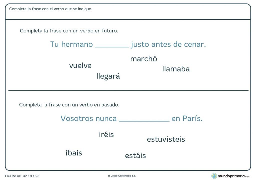 Ficha de verbos en pasado y futuro introducidos en frases para 4º