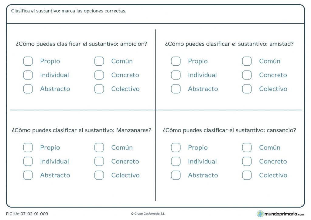 Ficha de clasificar los sustantivos para alumnos de Primaria