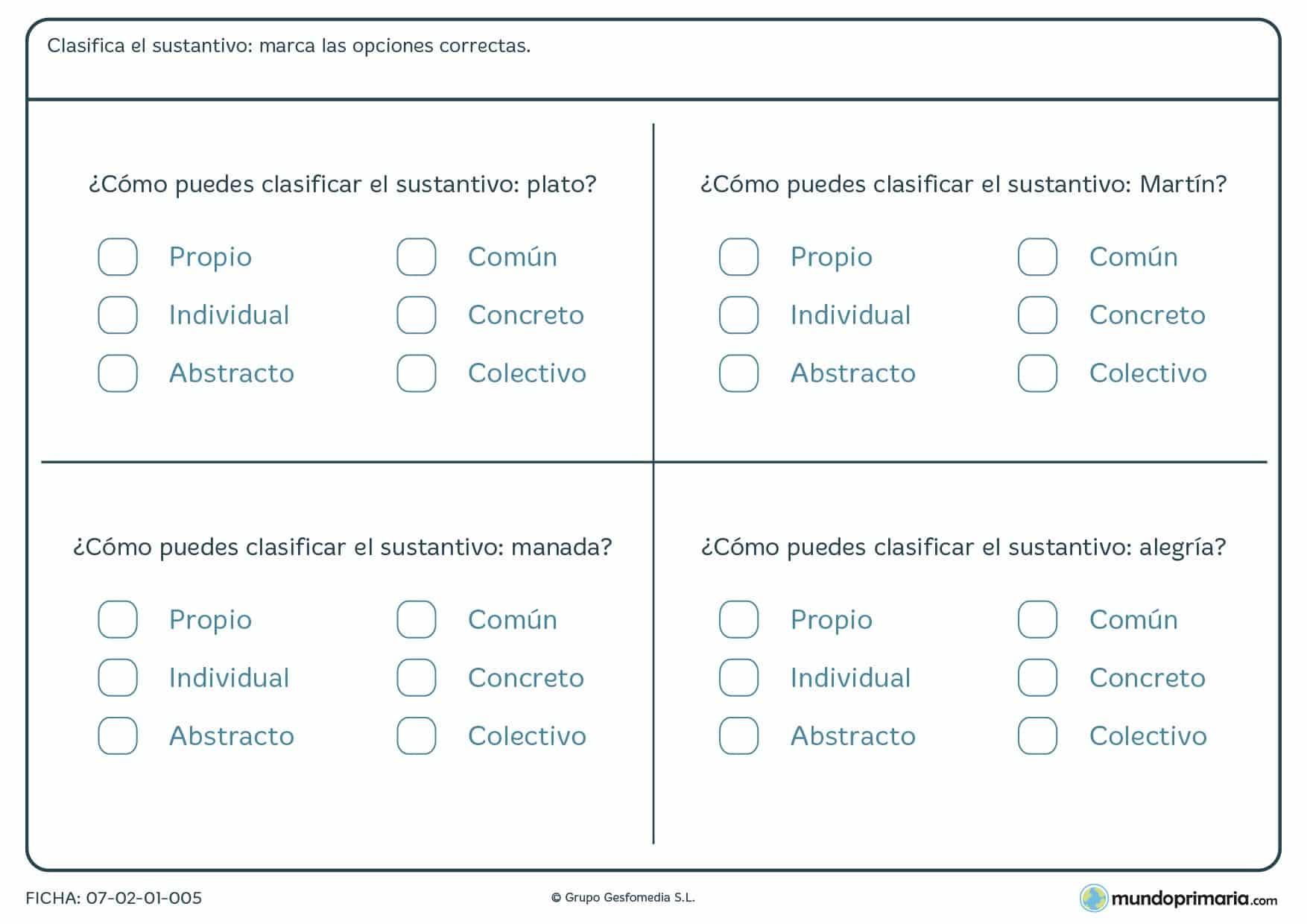 Ficha de diferentes tipos de nombres para niños de 5º de Primaria