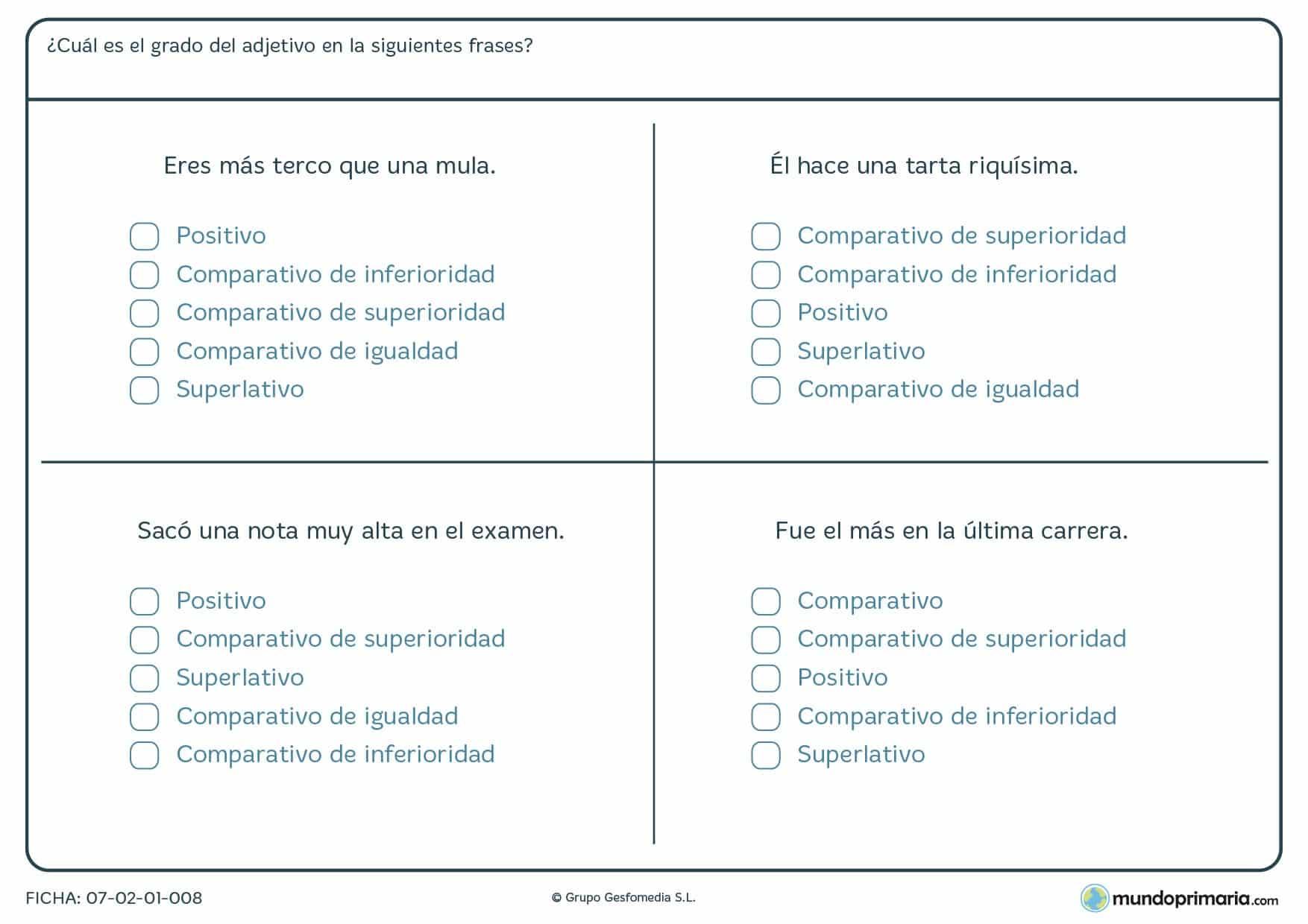 Ficha de frases y grados del adjetivo para niños que estudian Primaria
