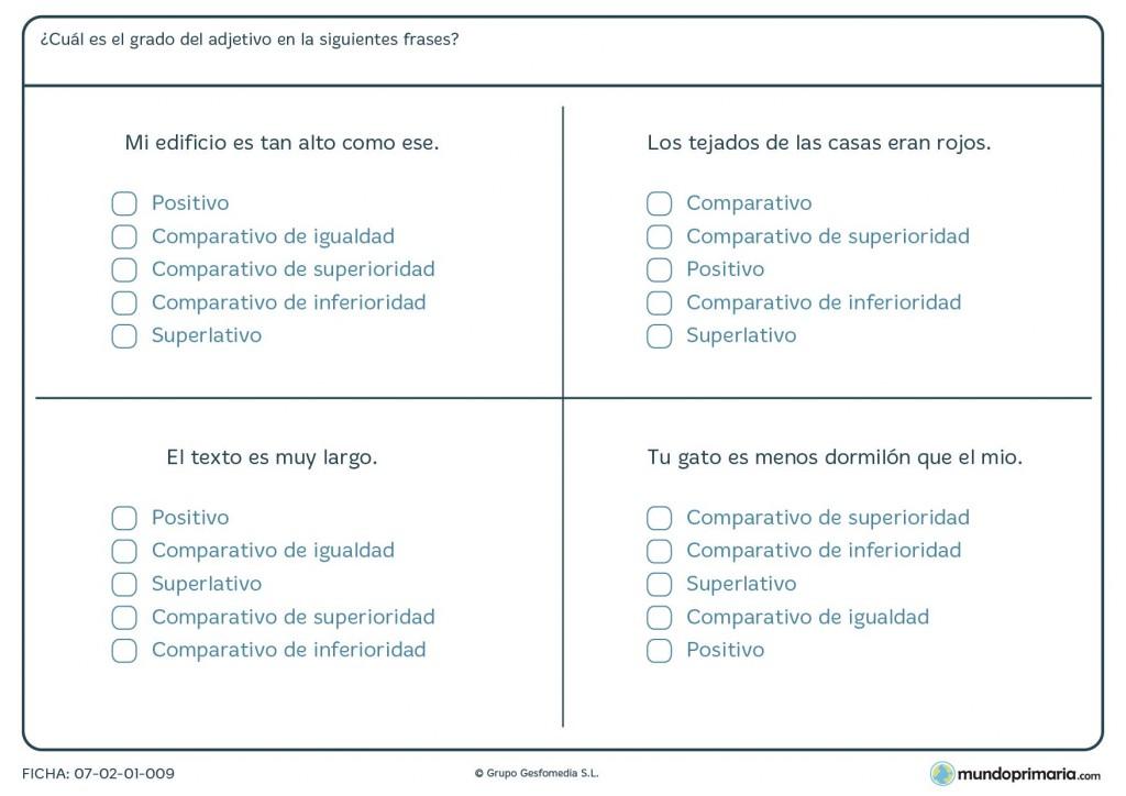 Ficha de adjetivos de grado positivo, comparativo y superlativo