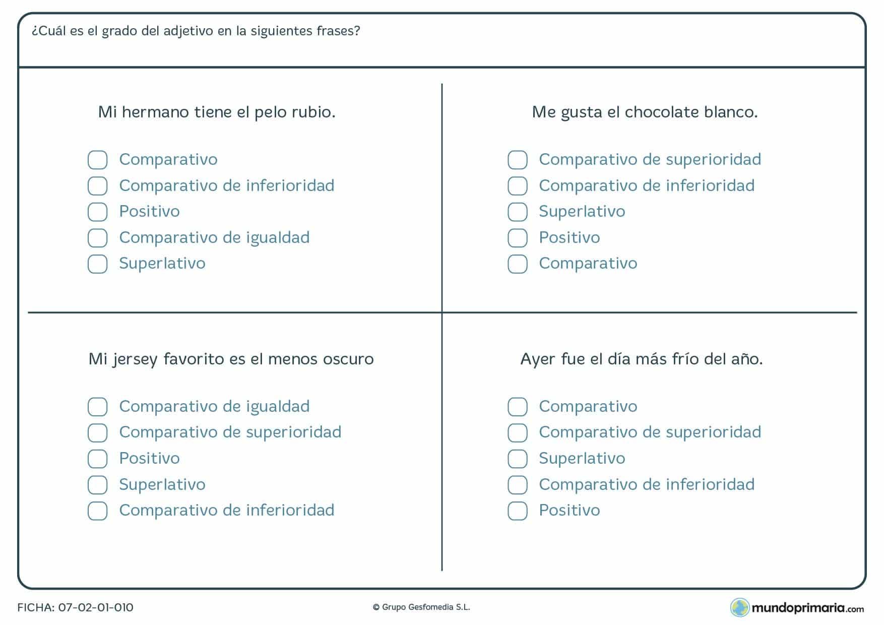 Ficha de marcar el grado del adjetivo de los ejemplos para Primaria