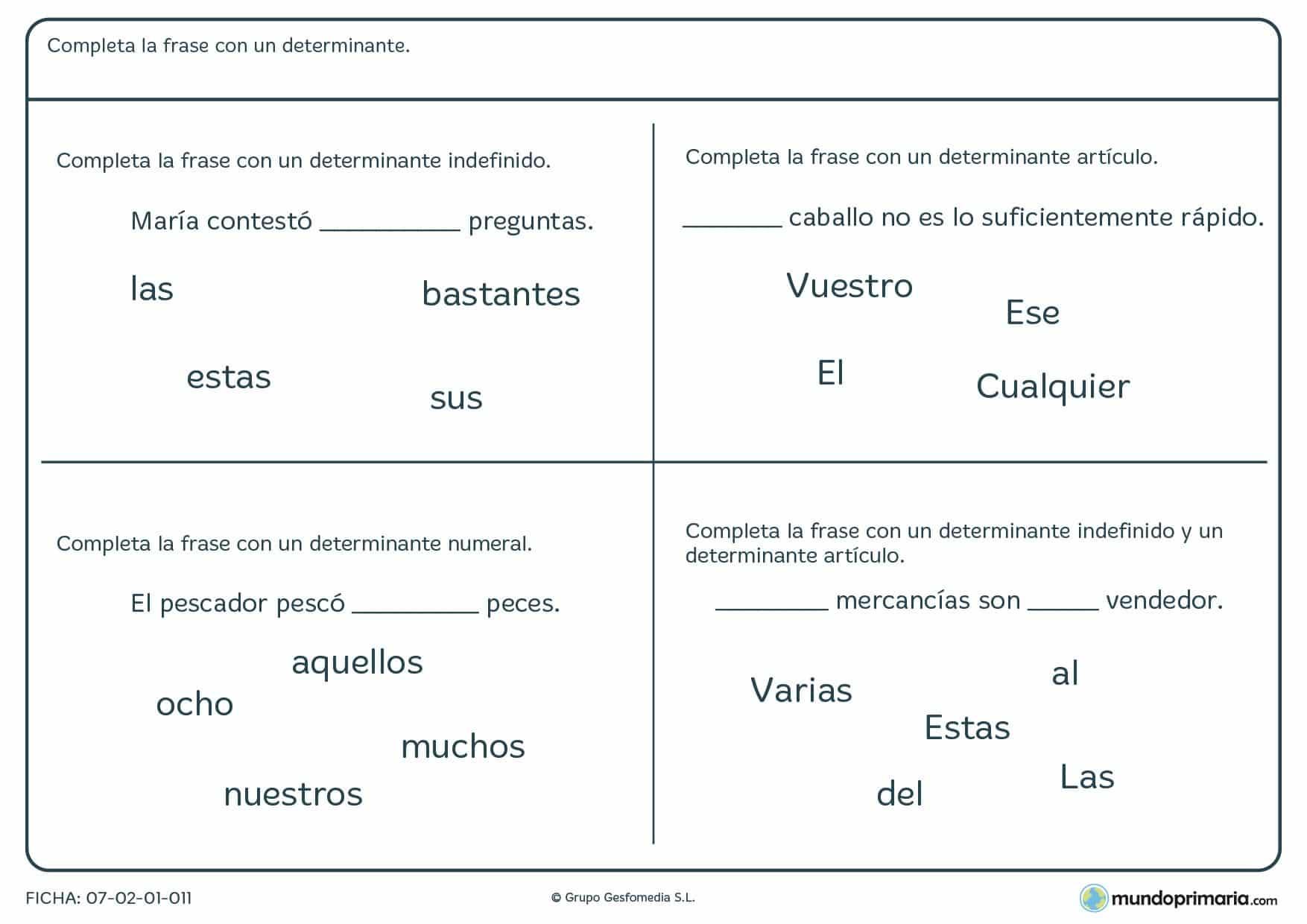 Ficha de completar las frases con un determinante para 5º de Primaria
