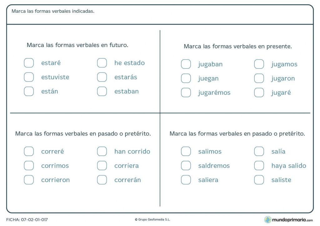 Ficha de verbos en futuro, pasado o presente para 5º curso de Primaria