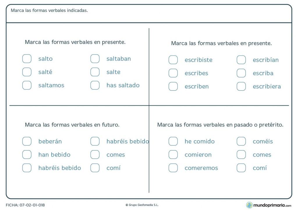 Ficha de gramática para aprender las formas verbales para Primaria
