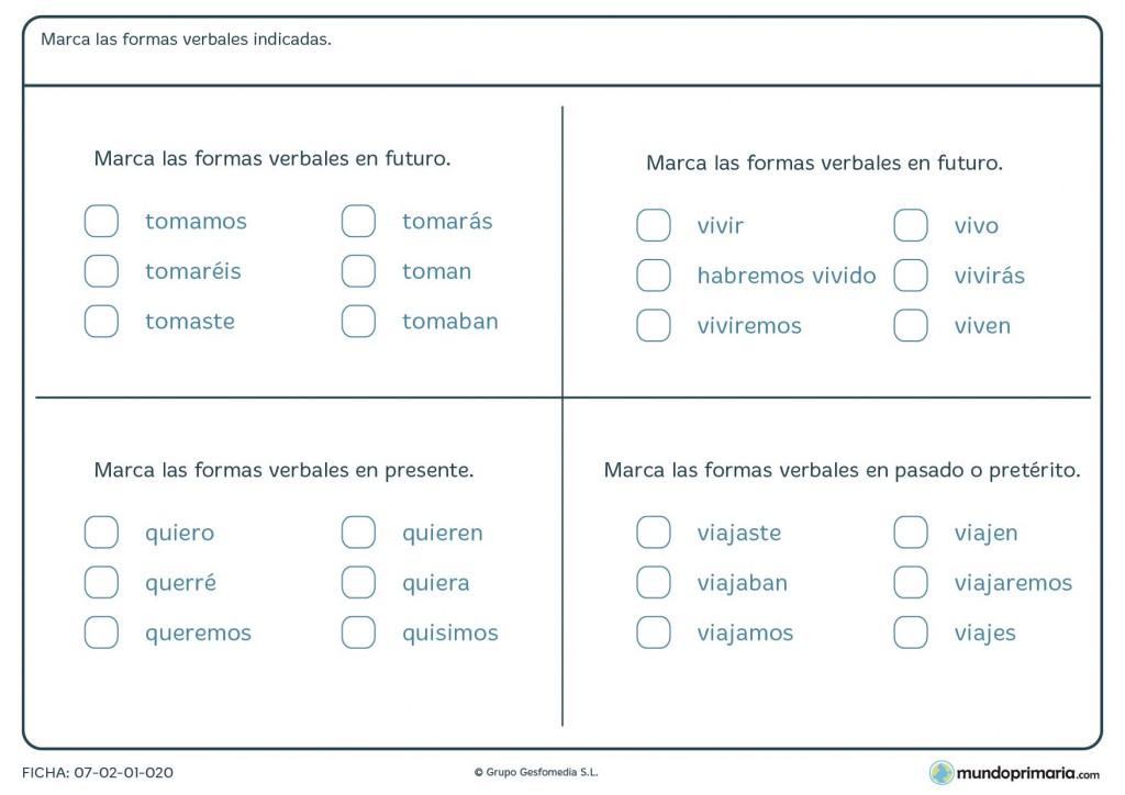 Ficha de presente, pretérito y futuro para niños de 5º curso