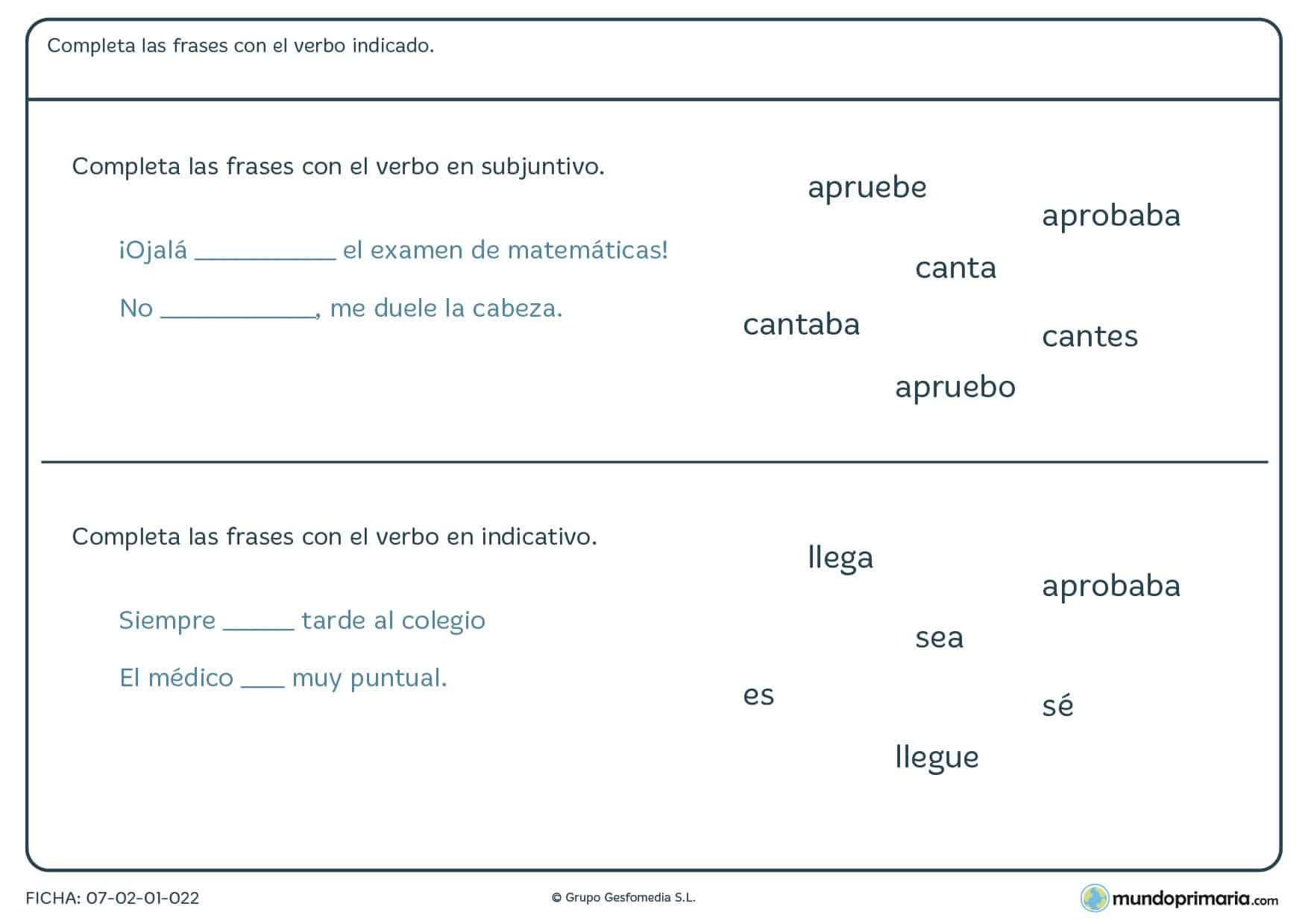 Ficha de completar las frases con el verbo indicado para Primaria