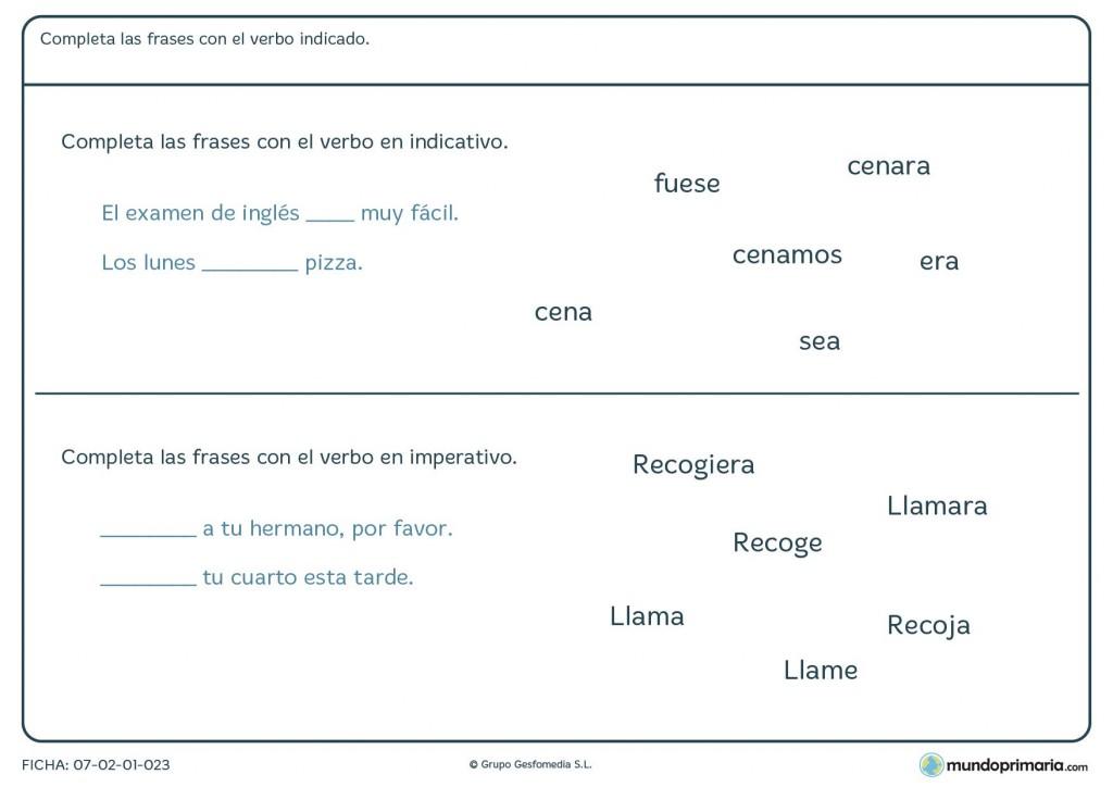 Ficha de escoger el verbo que mejor se acople al significado global