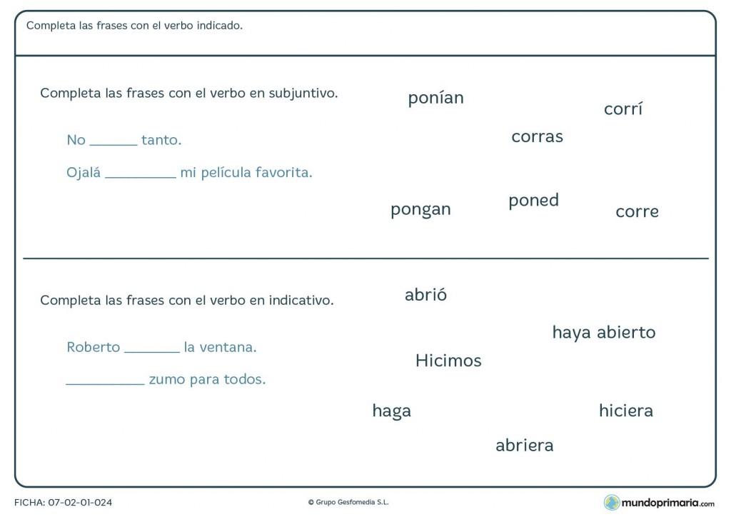 Ficha de verbos en subjuntivo e indicativo para niños de 5º Primaria
