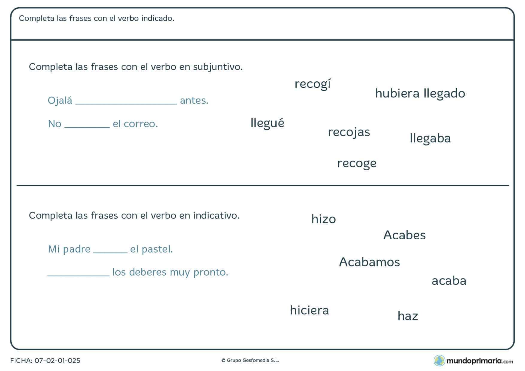 Ficha de elegir el verbo en su forma correcta para niños de Primaria