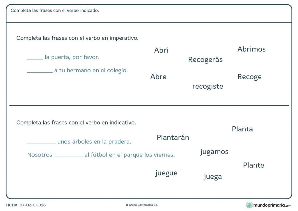 Ficha de verbos en imperativo e indicativo para alumnos de Primaria