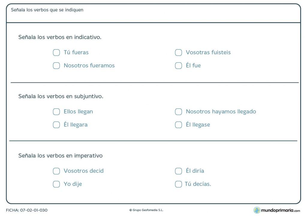 Ficha de lenguaje de gramática sobre los modos de los verbos