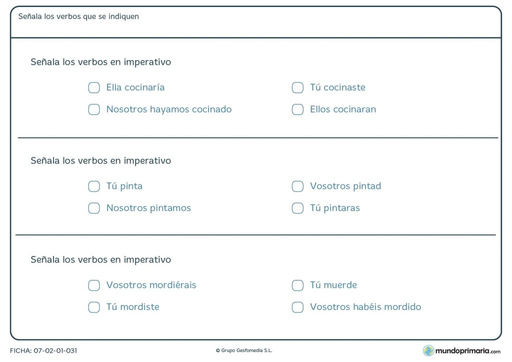 Ficha de formas verbales exclusivas en imperativo para Primaria