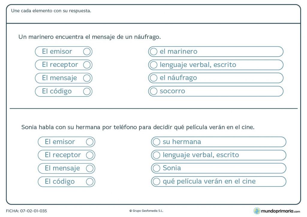 Ficha de conceptos básicos en comunicación para 5º de Primaria